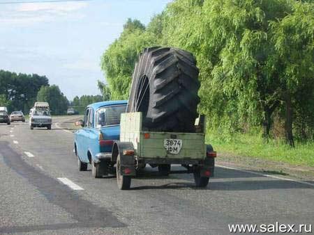 большое колесо для маленького автомобиля