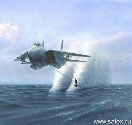 катание на водных лыжах при помощи самолета-истребителя