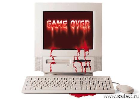 game over - кровь стекающая по компьютеру