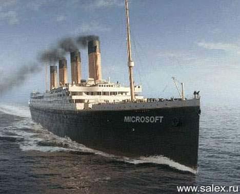 Титаник с названием Microsoft