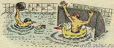 неумеющий плавать спортсмен по водному поло