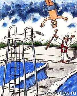 маг раздвинул воду в бассейне, когда в него прыгал мужик с трамплина