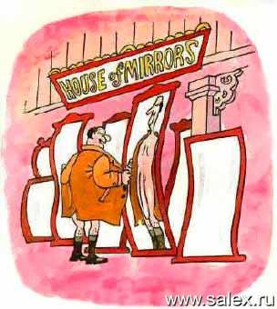 комната смеха с кривыми зеркалами может не только рассмешить, но еще и обрадывать некоторых...